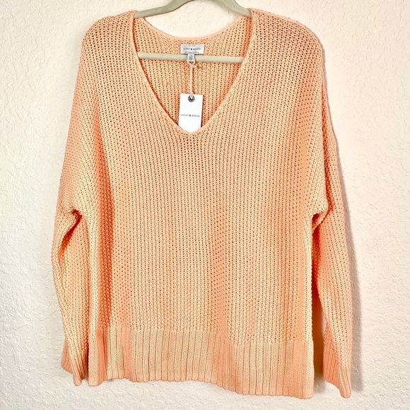 NWT Lucky Brand V-Neck Sweater in Orange Melon. L